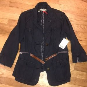 Cotton belted jacket w 3/4 sleeves